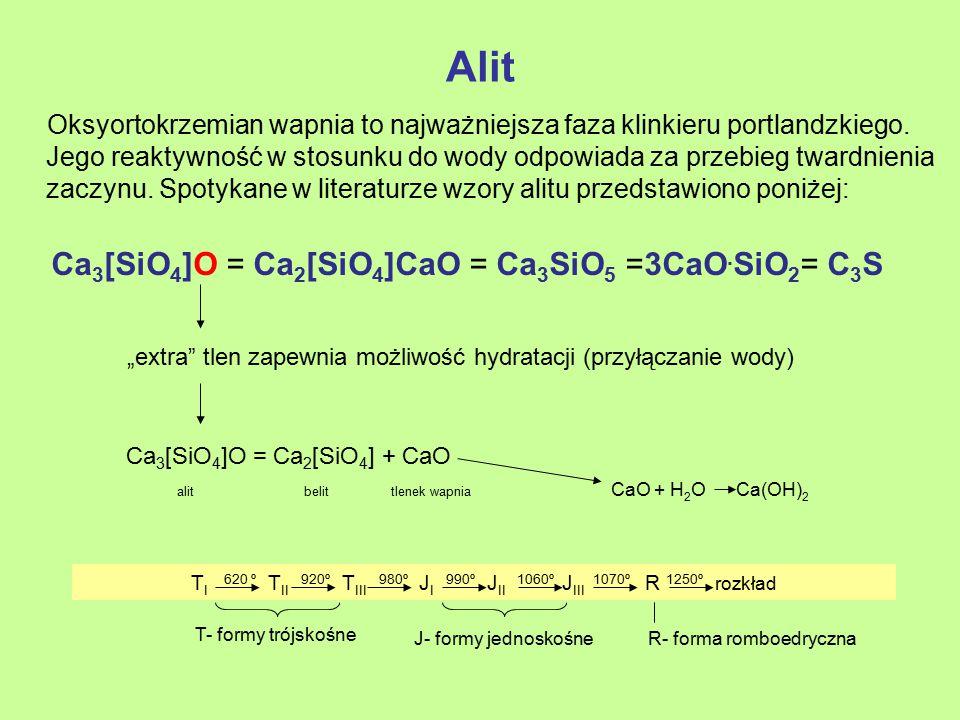 Alit Ca3[SiO4]O = Ca2[SiO4]CaO = Ca3SiO5 =3CaO.SiO2= C3S